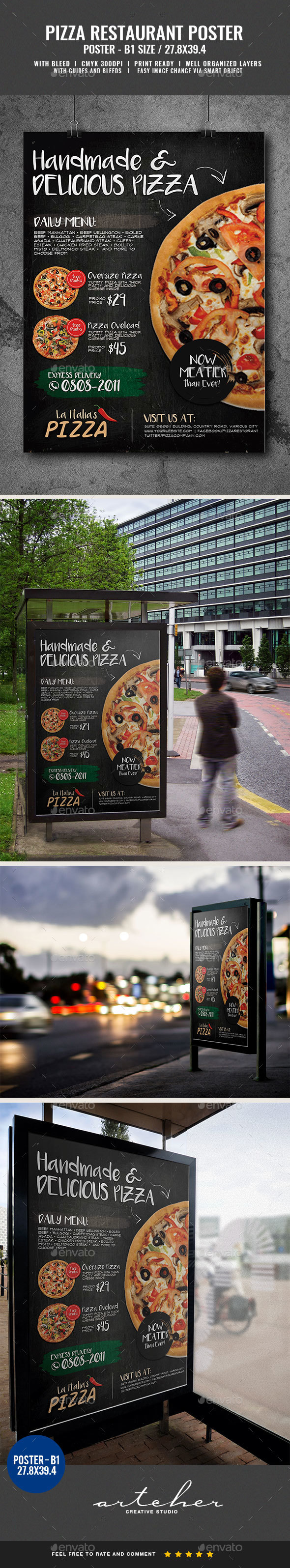 Pizza Burger and Pasta Restaurant Poster - Signage Print Templates