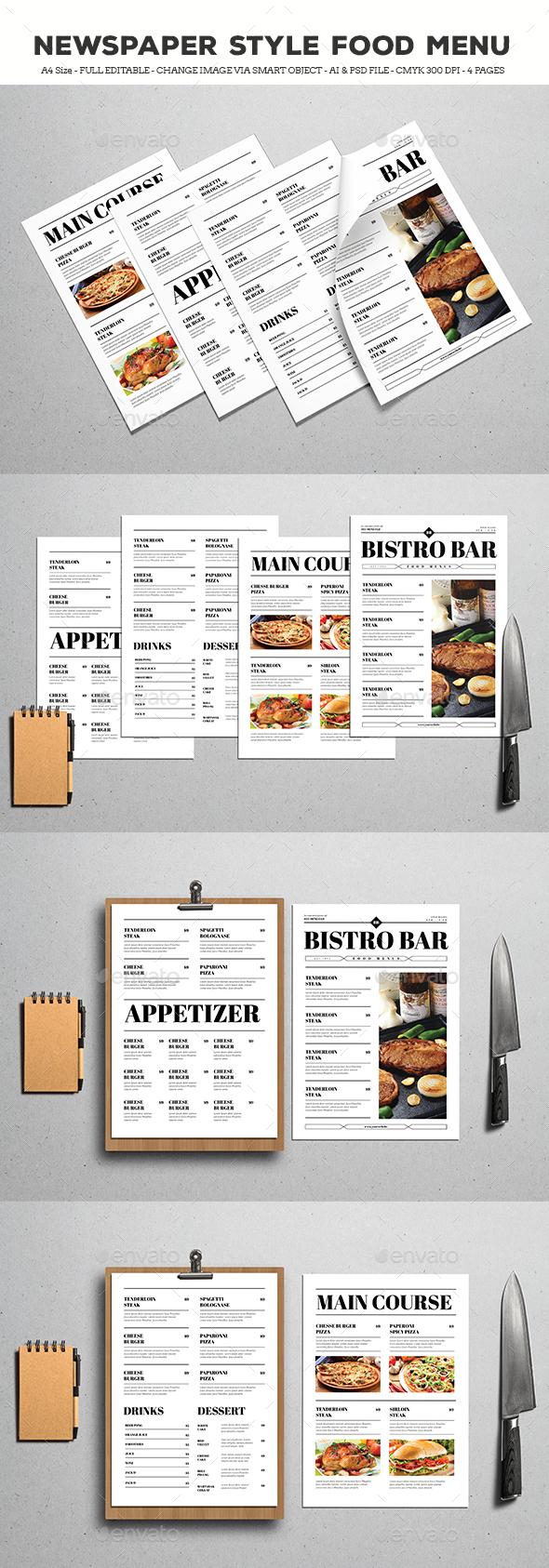 Newspaper Style Food Menus - Food Menus Print Templates