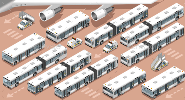 Airport Terminal Airfield Bus Shuttle 3D Vehicle Isometric Set - Vectors