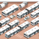 Airport Terminal Airfield Bus Shuttle 3D Vehicle Isometric Set - GraphicRiver Item for Sale