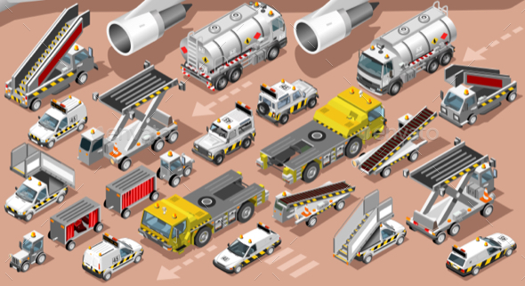 Airport Terminal Airfield Vehicles 3D Vehicle Isometric Set - Vectors