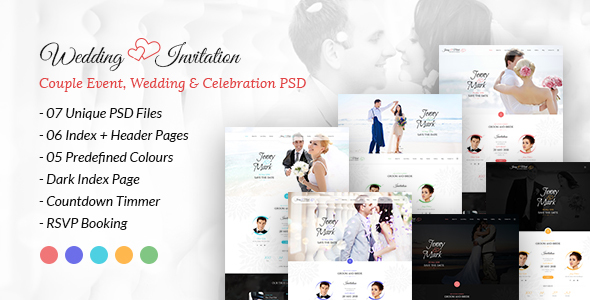 Wedding Invitation – Couple Event, Wedding & Celebration PSD Template