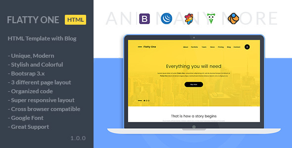 FlattyOne – One Page Portfolio HTML Template