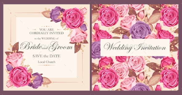 Vintage Wedding Invitation - Flowers & Plants Nature