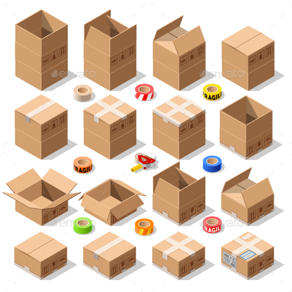 Cardboard Delivery Box Packaging 3D Isometric Vector Icons - Vectors