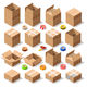 Cardboard Delivery Box Packaging 3D Isometric Vector Icons - GraphicRiver Item for Sale