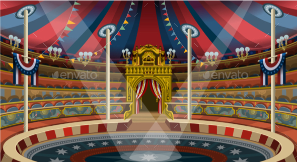 Circus Carnival Banner Tent Invite Theme Park Vector Illustration - Vectors