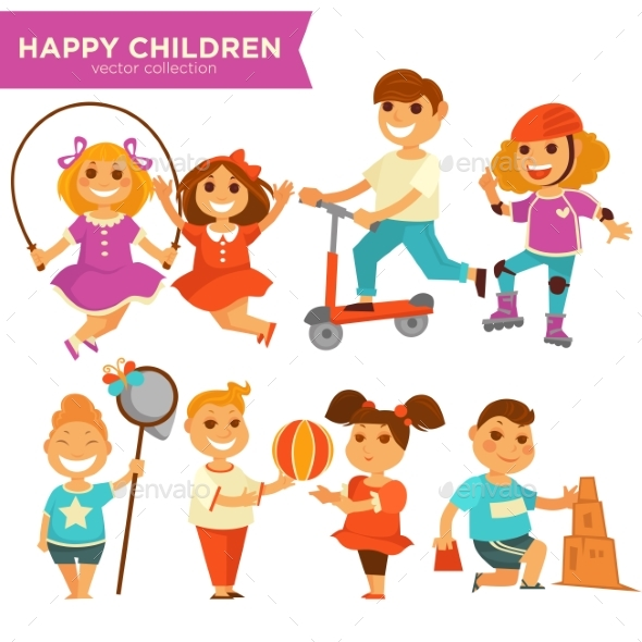 Happy Children Playing Outdoor Games Vector Icons - Landscapes Nature
