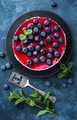 Delicious blueberry cake with fresh berries and marmalade, tasty cheesecake