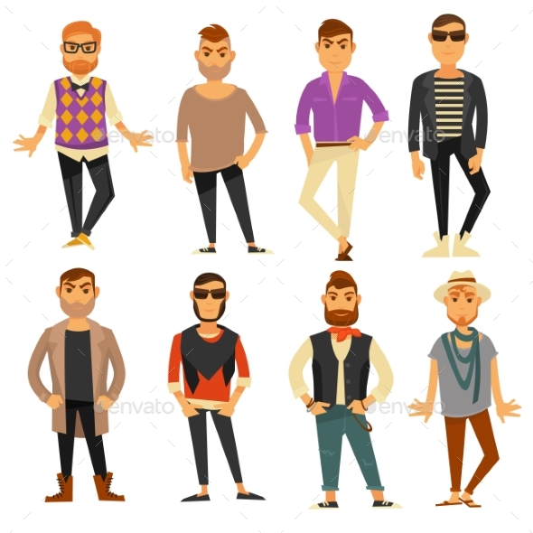 Men in Different Casual Fashion Clothes Styles - Man-made Objects Objects