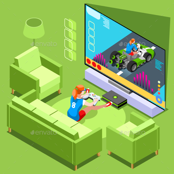 Console Video Game Icon Isometric People Vector Illustration - Computers Technology