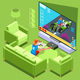 Console Video Game Icon Isometric People Vector Illustration - GraphicRiver Item for Sale