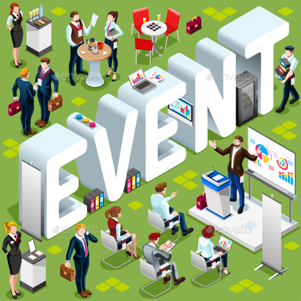 Event Isometric People 3D Set Vector Illustration - Concepts Business