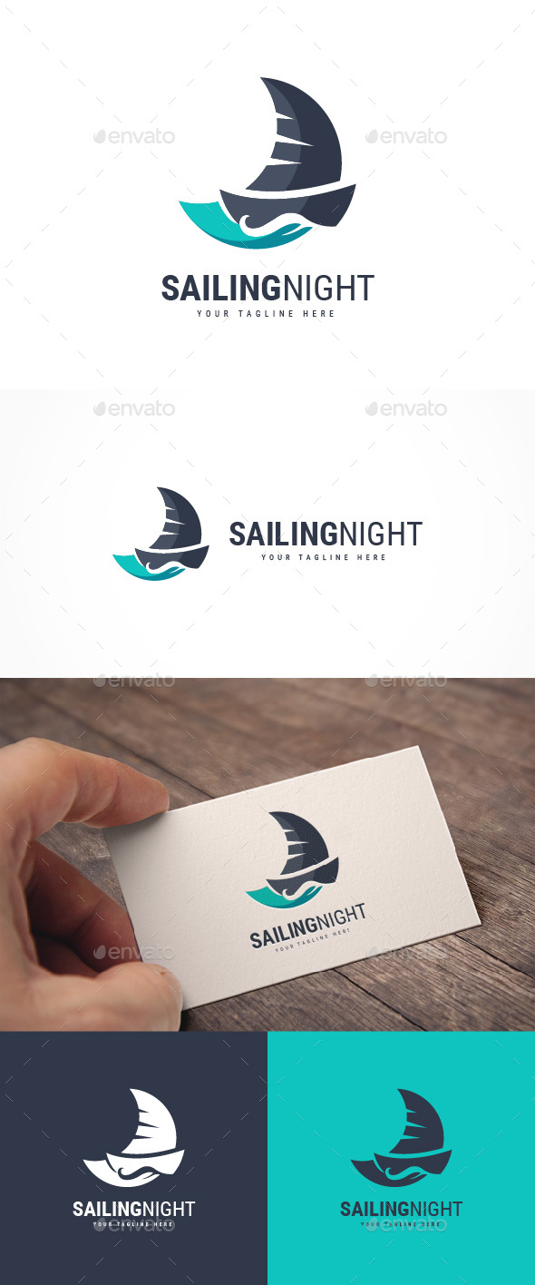 Sailing Night Logo - Nature Logo Templates
