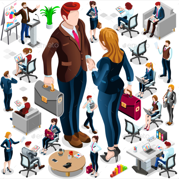 Isometric Icon Set Isolated Business People Vector Illustration - People Characters