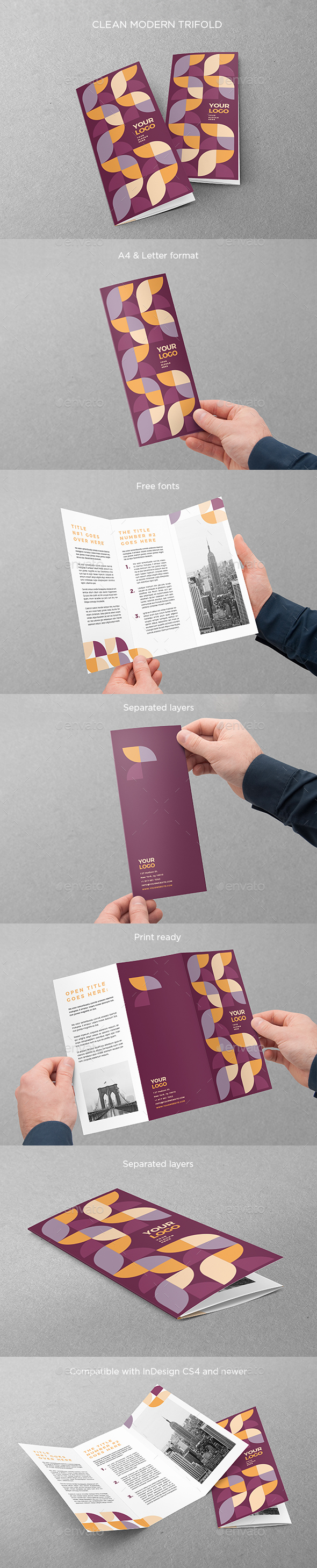 Clean Modern Trifold - Brochures Print Templates