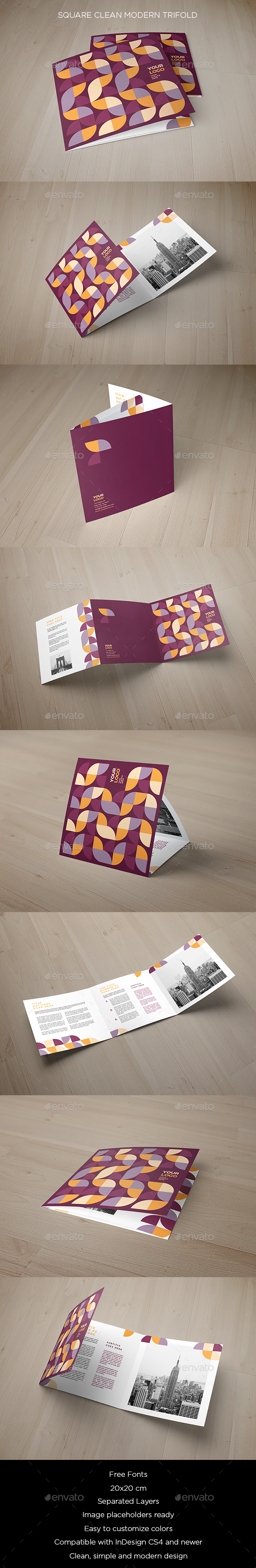 Square Clean Modern Trifold - Brochures Print Templates