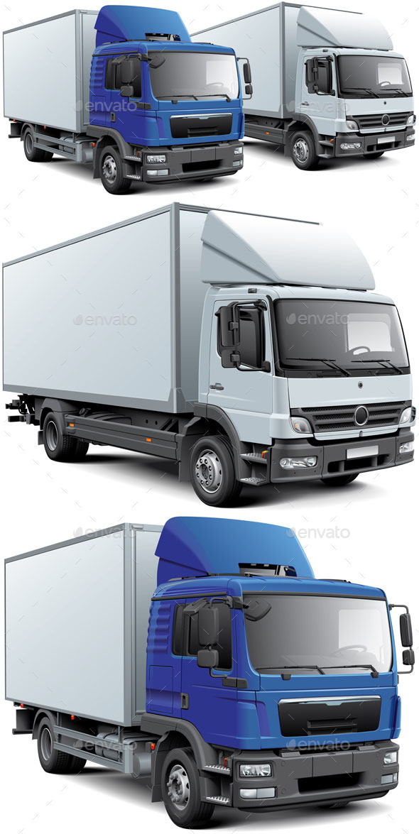 Two Box Trucks - Man-made Objects Objects