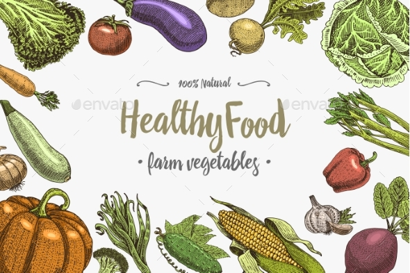 Vegetables Background with Space for Text - Food Objects