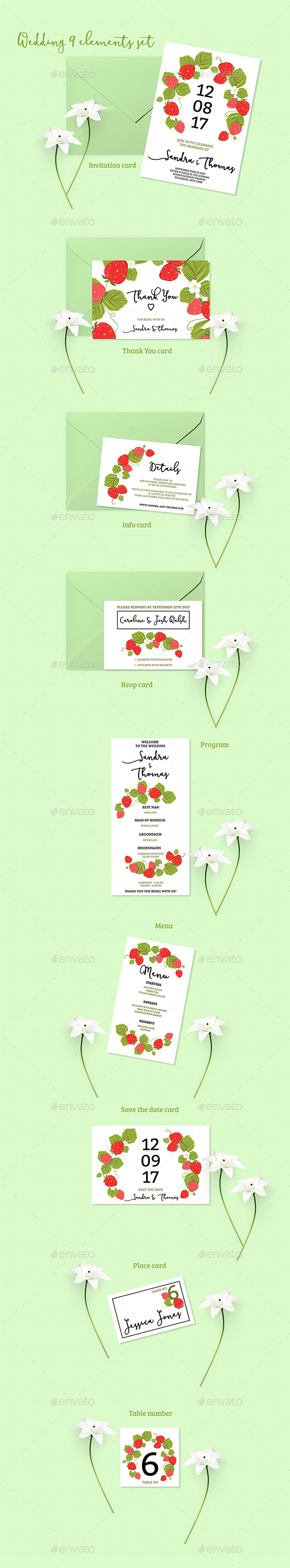 Summer Wedding Invitation Set - Invitations Cards & Invites