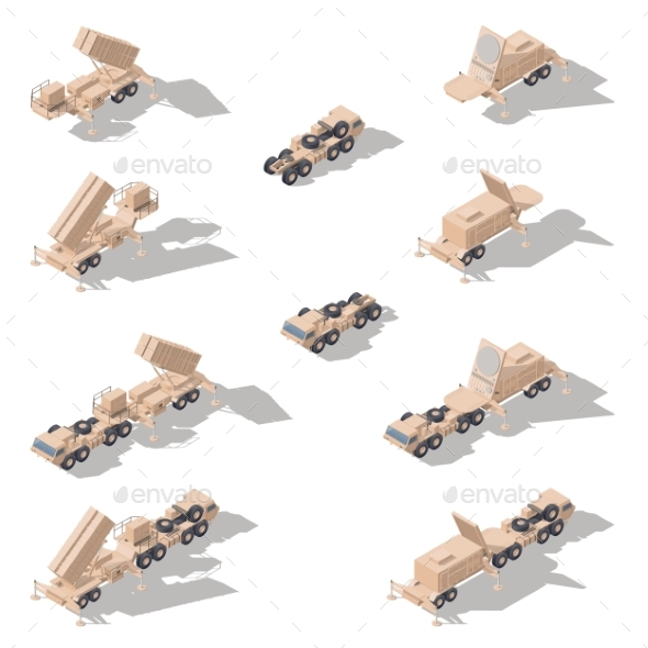 Air Defense Missile System Isometric Icon Set - Miscellaneous Vectors