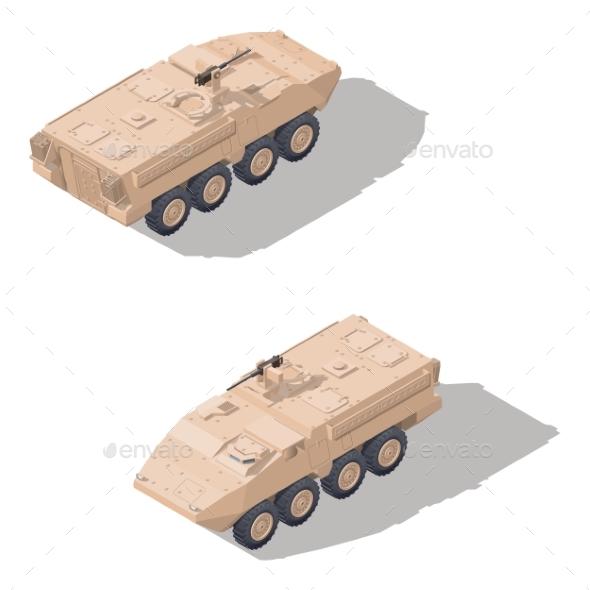 Modern Infantry Combat Vehicle Isometric Icon Set - Miscellaneous Vectors