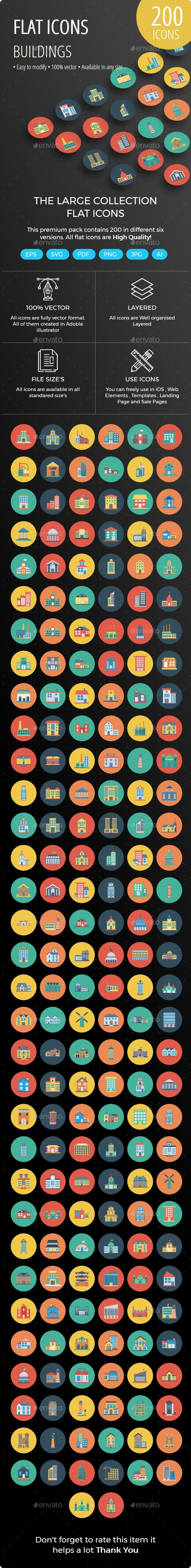 200 Building Flat Circle Icons - Icons
