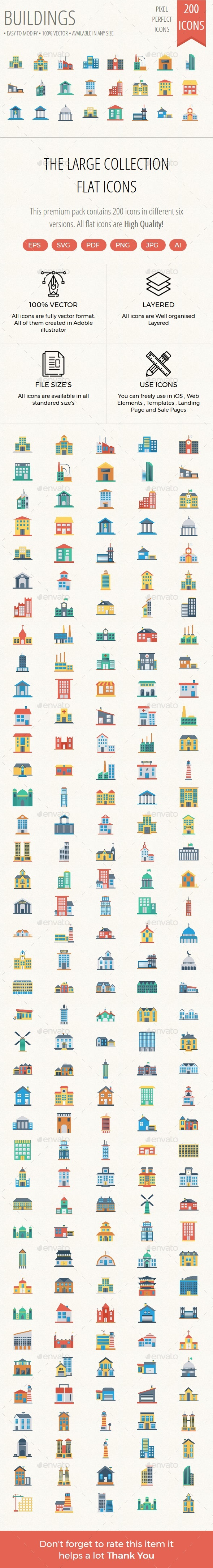 200 Building Flat icons - Icons