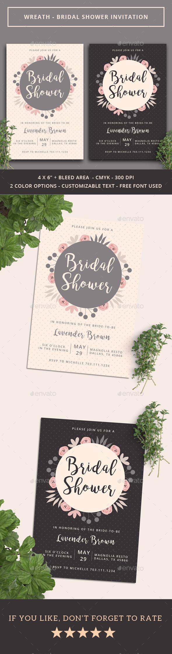 Wreath - Bridal Shower Invitation - Weddings Cards & Invites