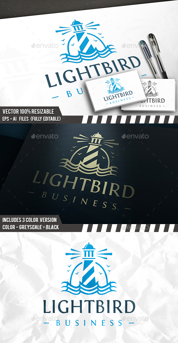 Lighthouse Waves Logo - Buildings Logo Templates