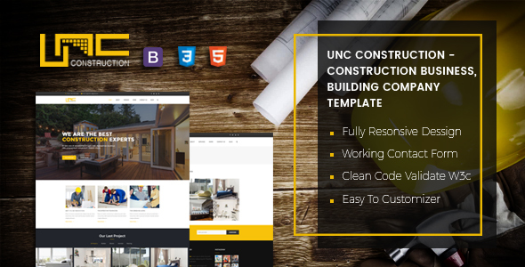 Unc Construction - Construction Business, Building Company Template - Business Corporate