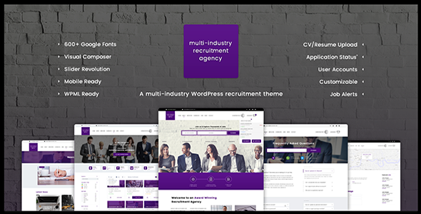 Recruitment Agency - Multi Industry | Responsive WordPress Theme - Directory & Listings Corporate