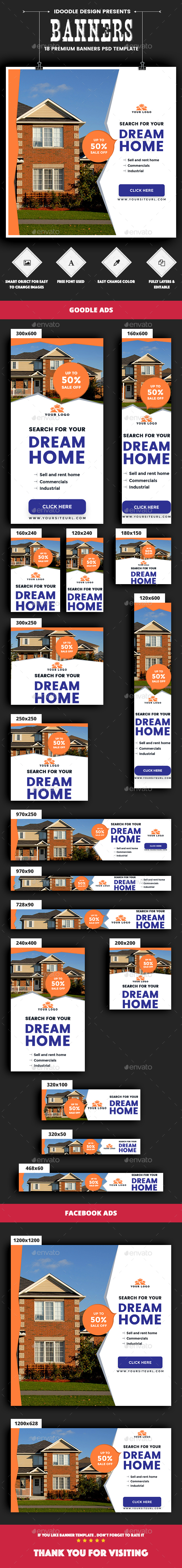 Real Estate Banners Ads - Banners & Ads Web Elements