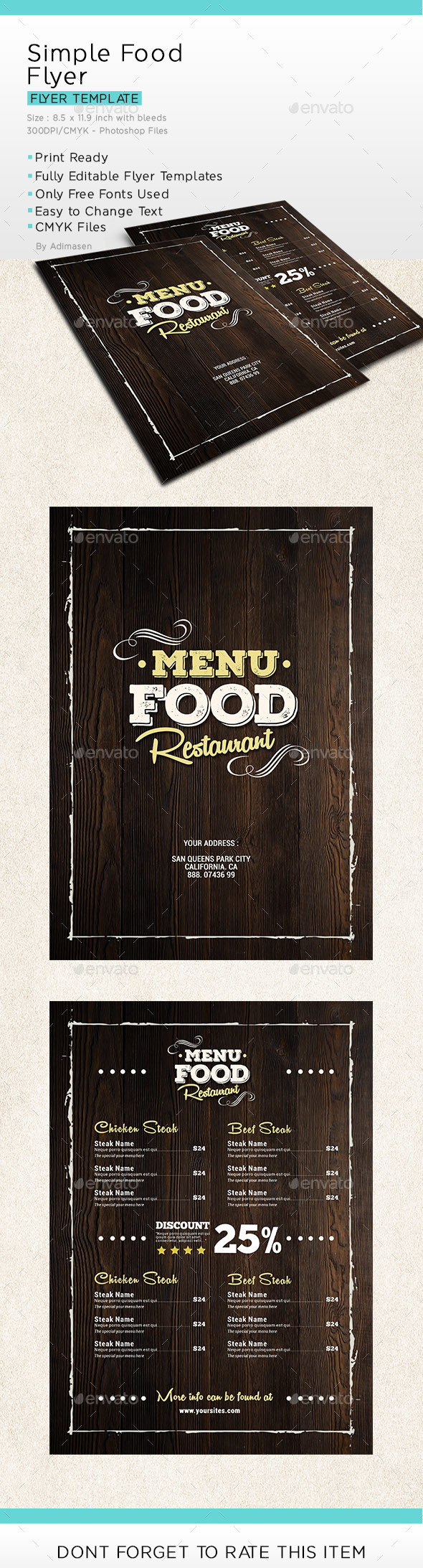 Simple Food Menu Flyer - Food Menus Print Templates