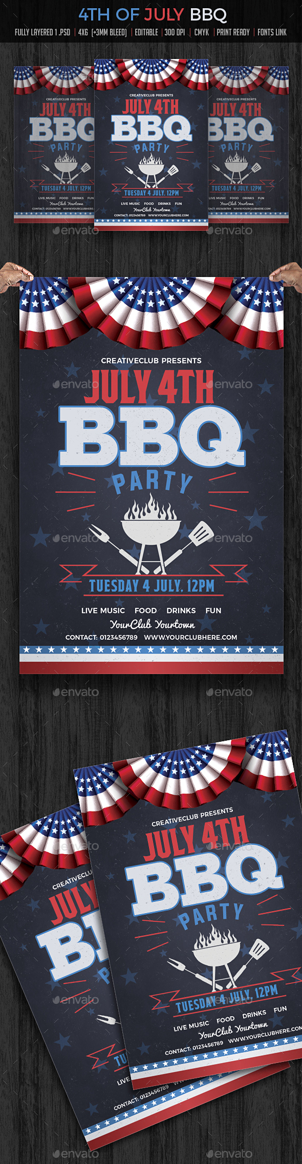 July 4th BBQ Flyer - Clubs & Parties Events