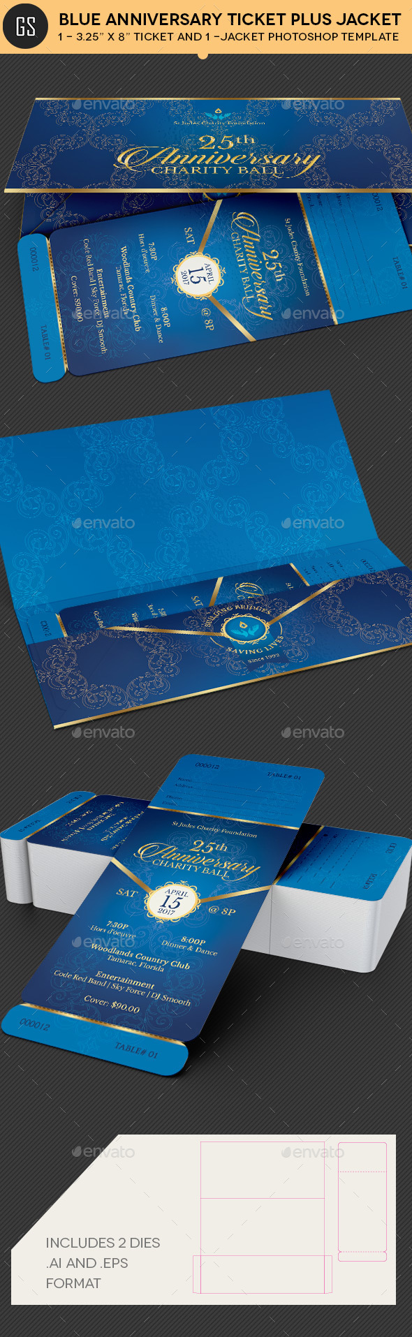 Blue Anniversary Gala Ticket Plus Jacket Template - Miscellaneous Print Templates