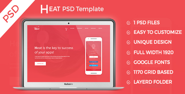 HEAT - Apps Landing PSD Template - Marketing Corporate