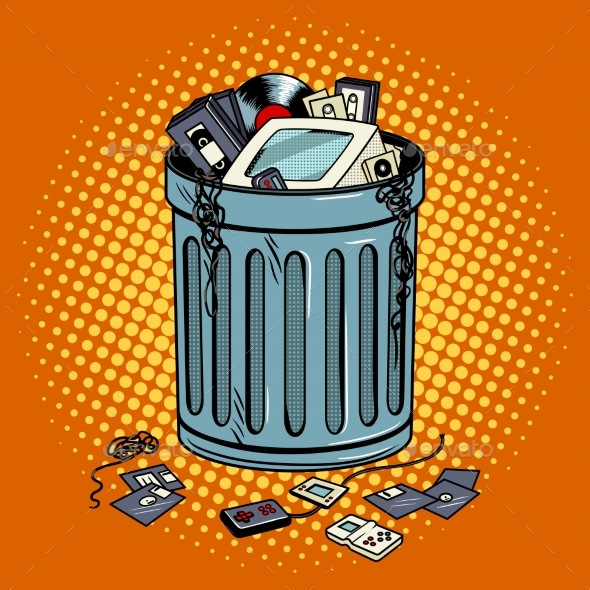 Old Gadgets in Trash Can Pop Art Style Vector - Man-made Objects Objects
