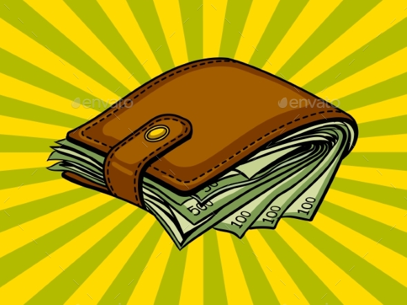 Full Wallet with Money Pop Art Vector - Concepts Business