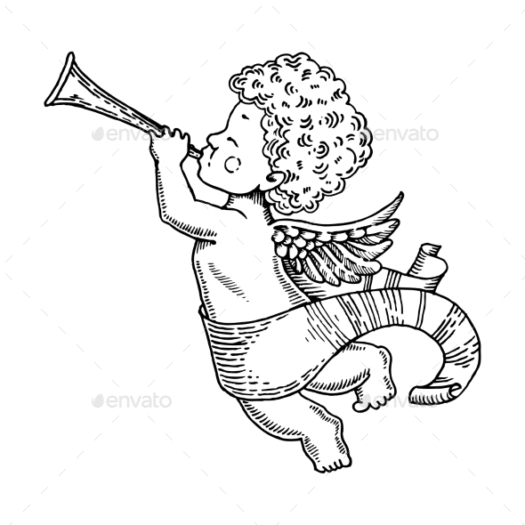 Angel Baby with Horn Engraving Style Vector - People Characters