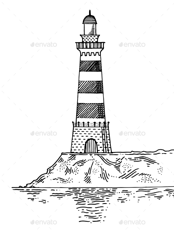 Lighthouse Engraving Style Vector Illustration - Miscellaneous Vectors