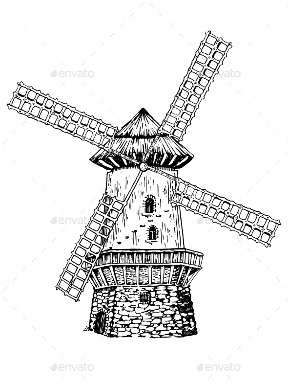 Old Windmill Engraving Style Vector Illustration - Miscellaneous Vectors