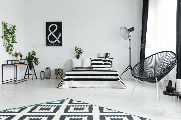Bedroom with plants and decorations - Stock Photo - Images