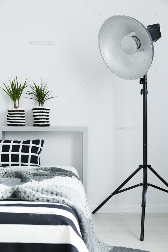Bed, blanket, plants, and lamp - Stock Photo - Images