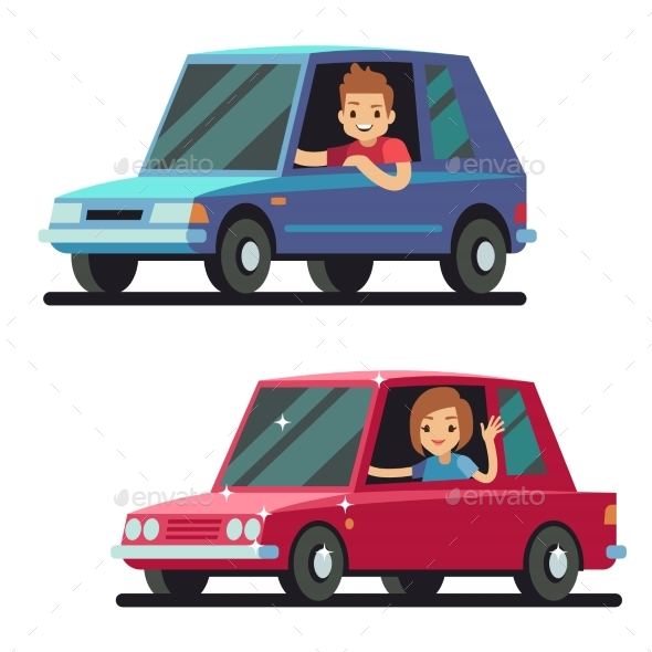 Young Man and Woman Driver Driving Cars - Miscellaneous Vectors