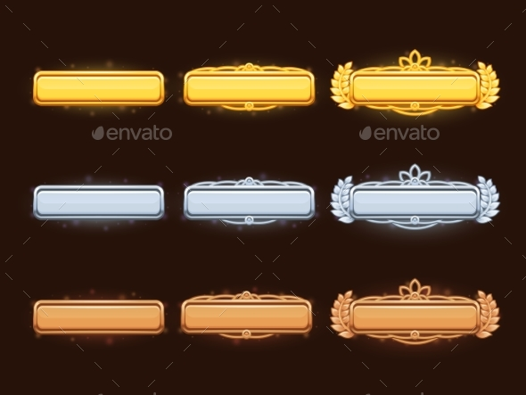 Bronze, Silver and Golden Cartoon Vector Title - Borders Decorative
