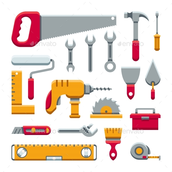 Hardware Industrial Tools Kit Flat Vector Icons - Miscellaneous Vectors