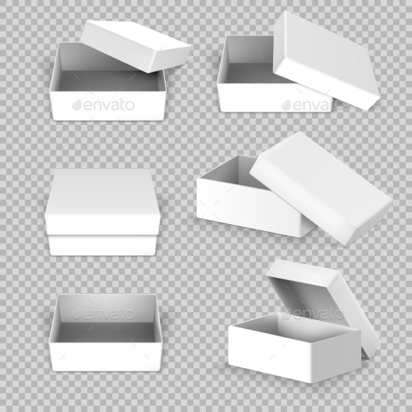 White Empty Square Open Box in Different Positions - Man-made Objects Objects