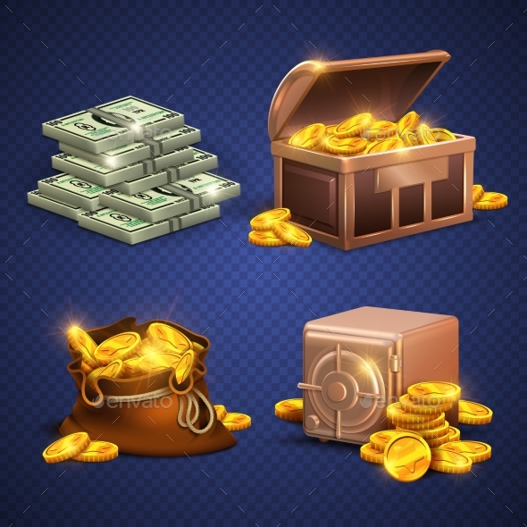 Casino Vector 3D Signs and Money Icons - Man-made Objects Objects