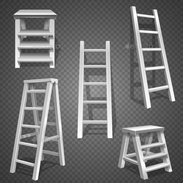 Steel Vector Staircases and Ladders - Man-made Objects Objects